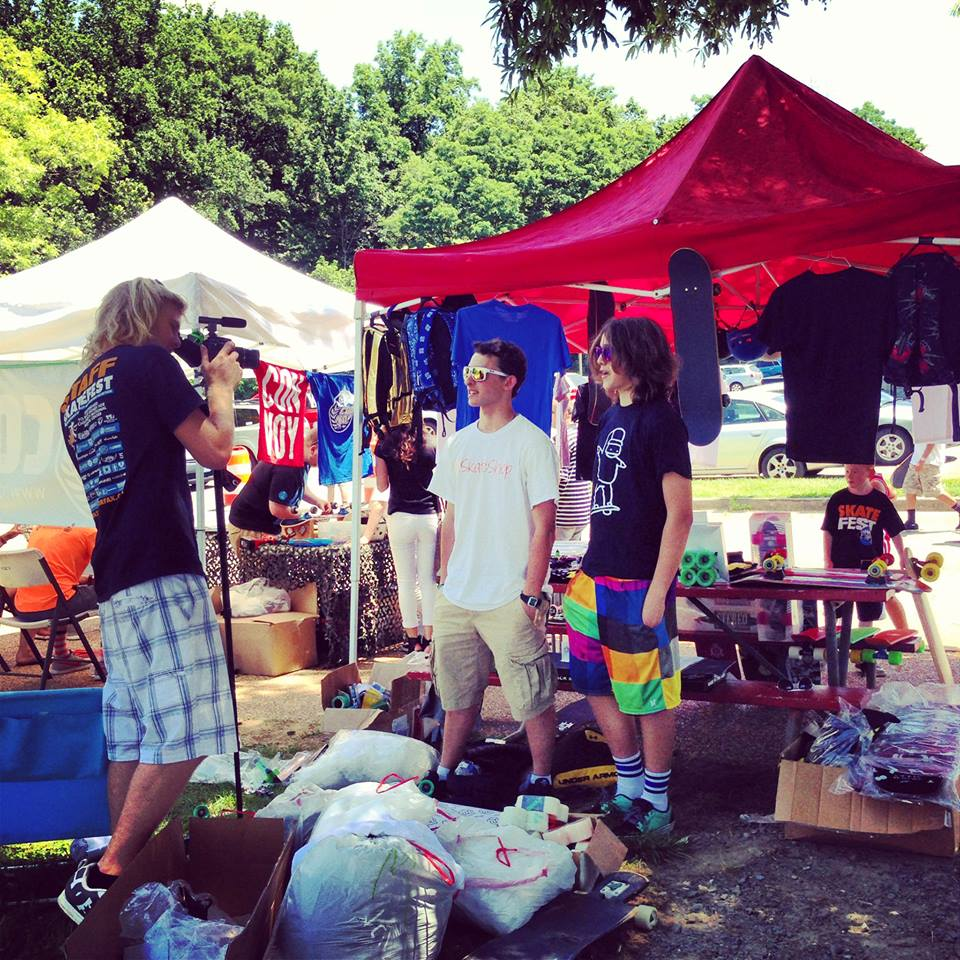Owners Luke (left) and Dominic (right) being interviewed at the 2013 Fairfax Skate Fest.