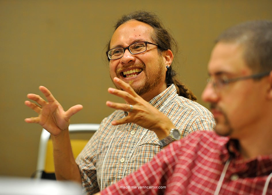 Alejandro Alfaro-Santiz of the Iowa District talks during the Congregational Development 101 seminar, at SCD in Indianapolis Thursday, August 13, 2015.
