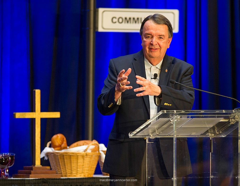 Bishop Mike Coyner of the Indiana District speaks during the Opening Worship at SCD in Indianapolis, Thursday, August 13, 2015.