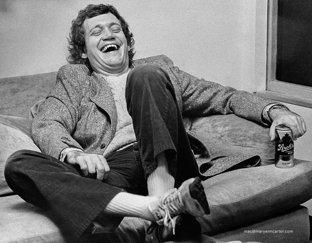 "David Letterman 1979  David Letterman laughs as he relaxes with friends and drinks a Stroh's Beer in his hometown of Indianapolis just before Christmas 1979. This is a rare look at 32-year-old Letterman, just before he got his own daytime TV talk show, The David Letterman Show, with NBC in 1980. The photograph was published in People Magazine. Letterman told People at the time, ""I keep waiting for someone to tap me on the shoulder and say, 'Okay, buddy, give us the money back, NBC wants your new house, and you have to go home to Indianapolis.  Amazon   Etsy"