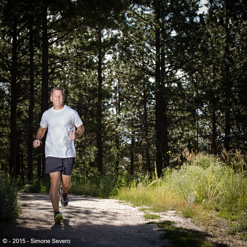 I met David at Section 16, a famous trail in Black Forest. David loves running. He works out constantly and he likes the outdoors.  He told me he works from home for HP so he is lucky to have some control over his time.  We were together for no more than 20 minutes. Since he runs a lot, he wanted a picture running. It took a few times to get him in the right spot.  We talked about cars.  I liked his Accura - he told me he's had it for 11 years and there is 300 THOUSAND miles on it. I did not know a car could run that much!!