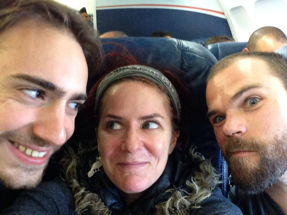 Joel, Sonsheree, and Sebastian on their way to Glasgow