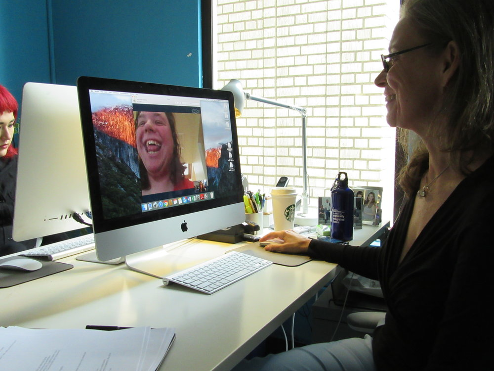 Eugenia (pictured right) and Rebecca Fortelka (On Screen) discuss Social Media reach and strategy in weekly meetings.