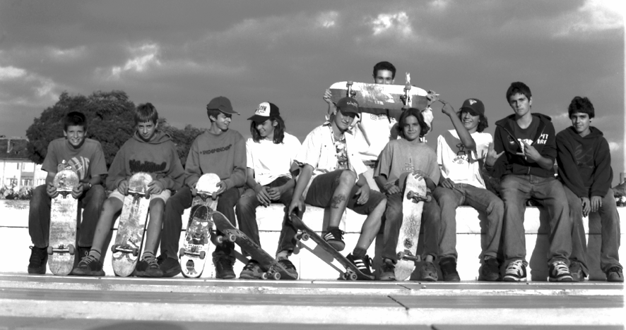 The skate posse that frequented NDK Plaza every day til sundown. Photo by Josh Stewart
