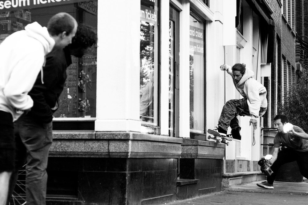 Josh films Jimmy Lannon in France. Photo Hugo Snelooper