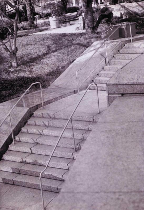 Kickflip over and down the bank (Scan from Skateboarder Mag) Photo Frankie Brodsky