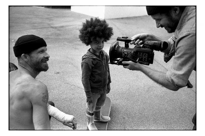 Jason Dill, Bill Strobeck and little boy, Paris 2012