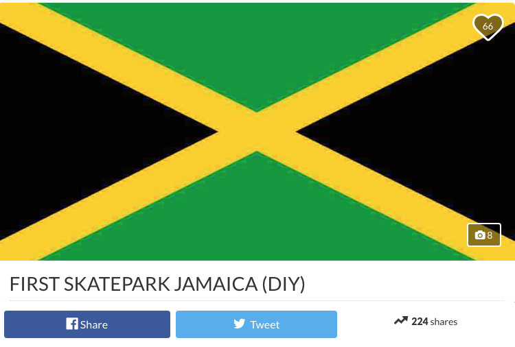 I've been to Jamaica and tried to film there. It is NOT exactly a skater's paradise. This girl is trying to change that and help get a skatepark built to bring the Jamaican skate community together. Let's help her make it happen.  Click this link  or the image above to contribute to her Go Fund Me page.