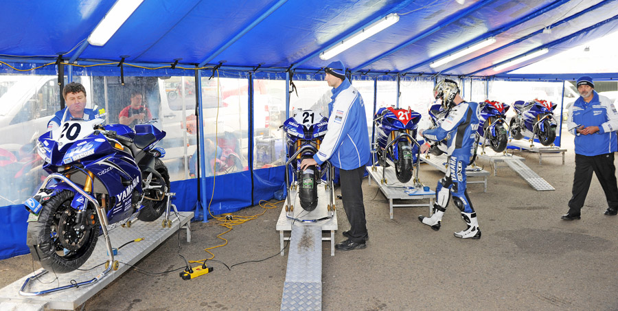 Pit Bike Bench (shown here with the factory Yamaha SBK team using optional ramps)  RRP $750