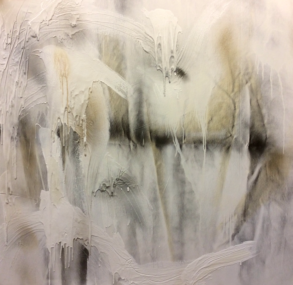 Aimee Joaristi, Silencio /Silence I, mixed media on canvas 150 x 150 cm. 2014