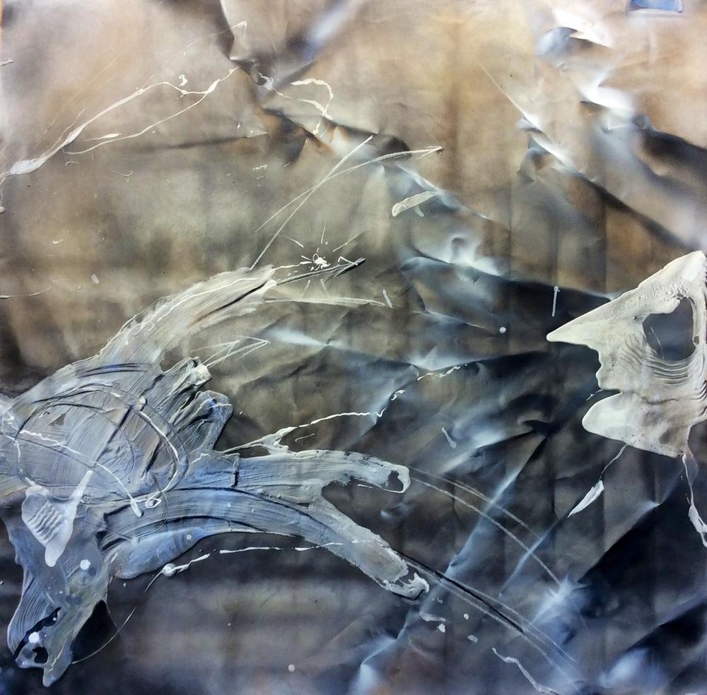 Silencio y pareidolia, técnica mixta sobre lienzo, 150 x 150 cm. 2015