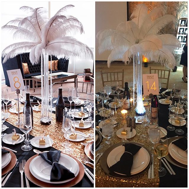 LM interiors has taken a back seat to raising my kids. This includes helping out with the swanky preschool gala. A Great Gatsby theme called for feather centerpieces.