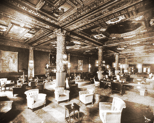 The Prince George Hotel lounge in the early 1900s.