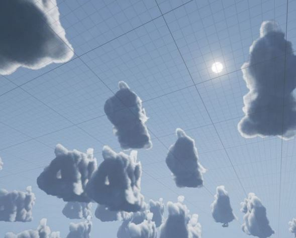 Houdini volume renders with lighting baked, as imposter sprites in UE4