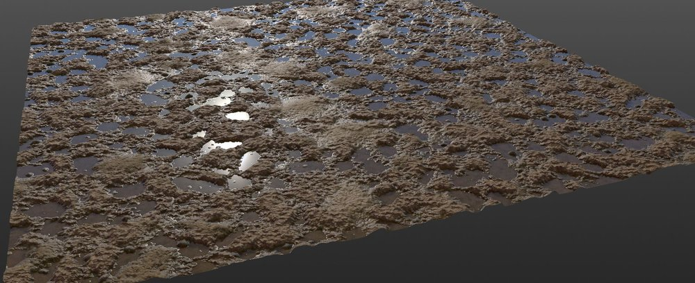A very quick test of mixing textures in Megascan Studio. No mans land craters + puddles