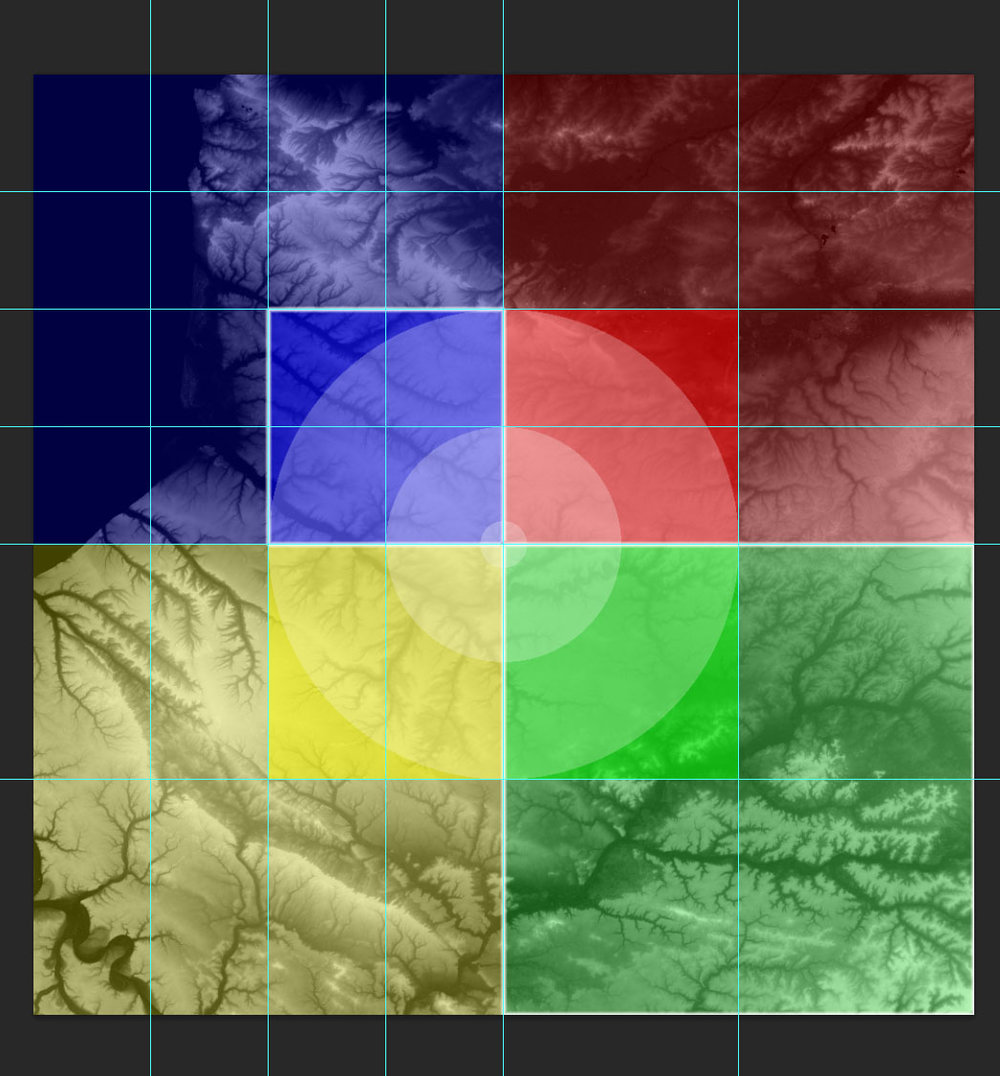 This is the full 200kmx200km area. The inner 4 coloured squares are each covered by an 8k texture. The larger more transparent 4 tiles are also covered by 8k textures, but cover 200% more terrain so are effectively 4k. The blue lines in the top left quarter show the landscape tile divisions in UE4 (8x8 = 64 landscape tiles). The rings are distance markers, 100km, 50km, 10km and 1km area. Each colour tinted tile has a material instance applied, so 8 instances in total.