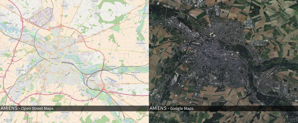 On the left is a browser view of Open Streep Maps (OSM), which can be downloaded as vectorised data. On the right is Googles satellite view of the same area. It shows the kind of textural detail and complexity I would need to create.