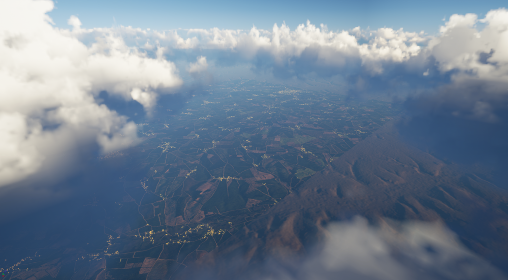 The view from a higher altitude. This is only showing 2 tiles worth of terrain textures and their buildings.