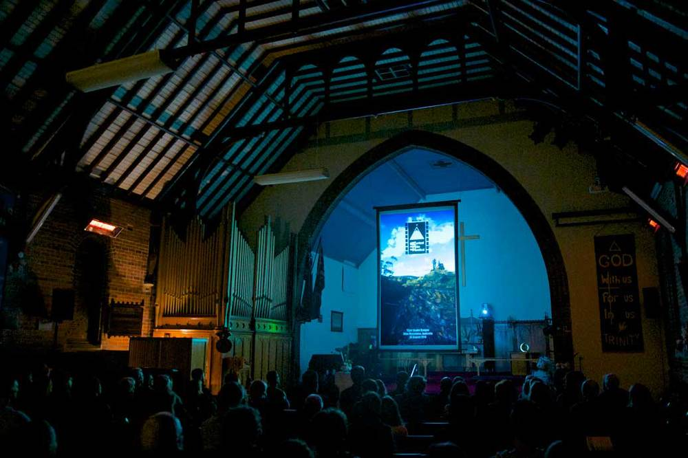 The 1st edition of the  Vertical Film Festival  was projected on a tall screen in St Hilda's Church, Katoomba in Australia's Blue Mountains on 17 October 2014. Photo by  Adam Sébire .  Download the original  (CC BY 3.0 AU).