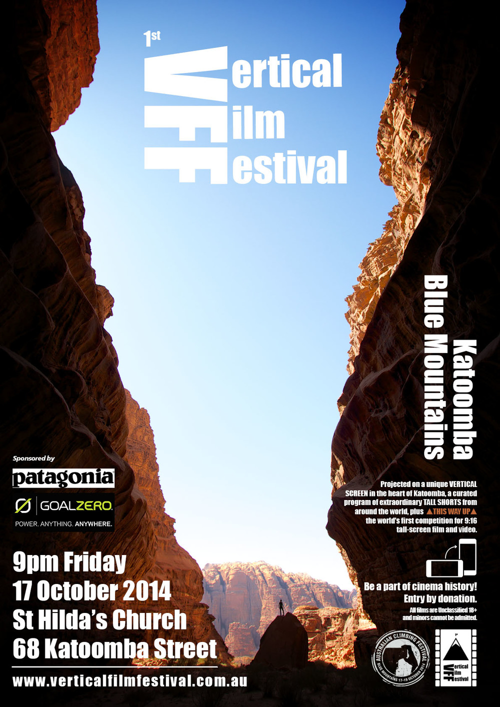Poster for the 1st Edition of the Vertical Film Festival in 2014.