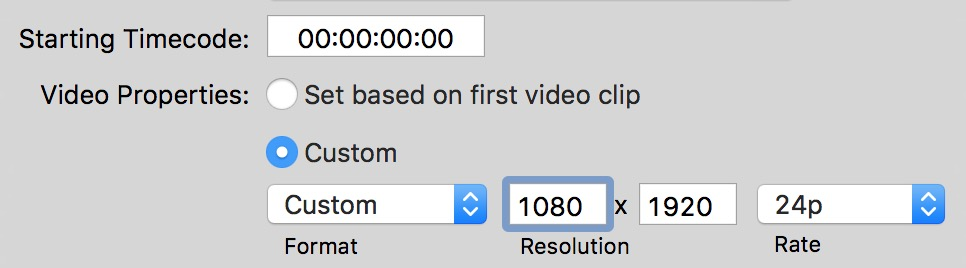 'New Project' settings in FCPX