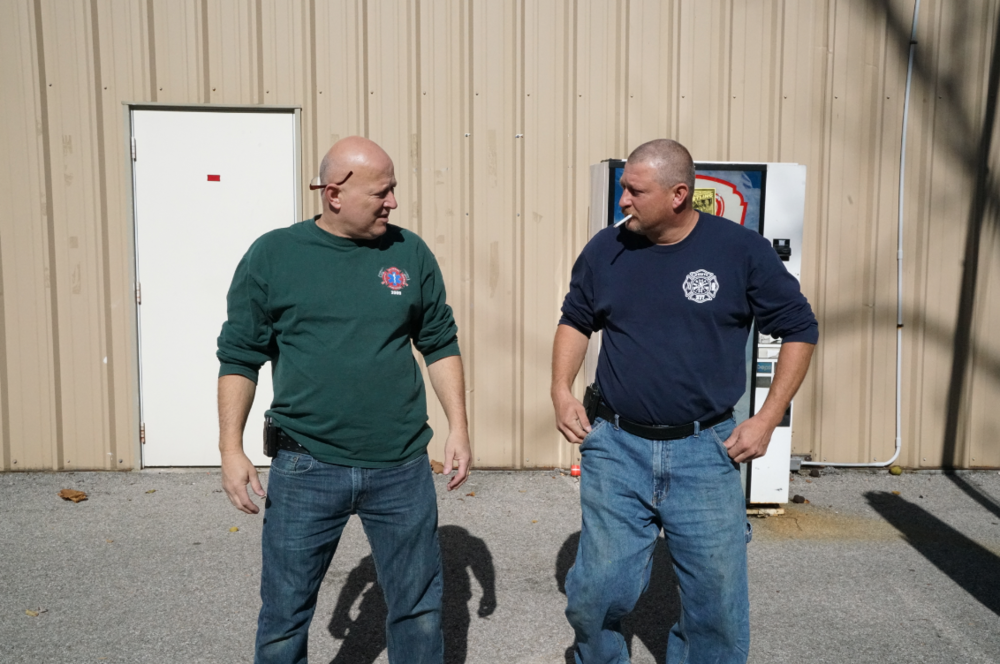"""Danny Blevins, 55 (left) of Morehead, Kentucky with his brother Darren.  As director of Morehead-Rowan Emergency Medical Services (EMS), Danny says """"There's tough living going on out in the hills and hollers, and they're our people.""""He wants to instill that """"everybody has a background that put them in that situation. We don't judge them, we take care of them."""""""