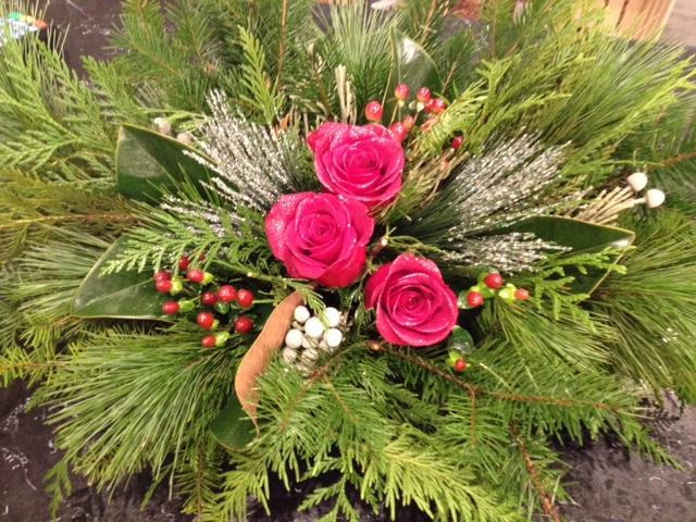 Christmas roses centrepiece