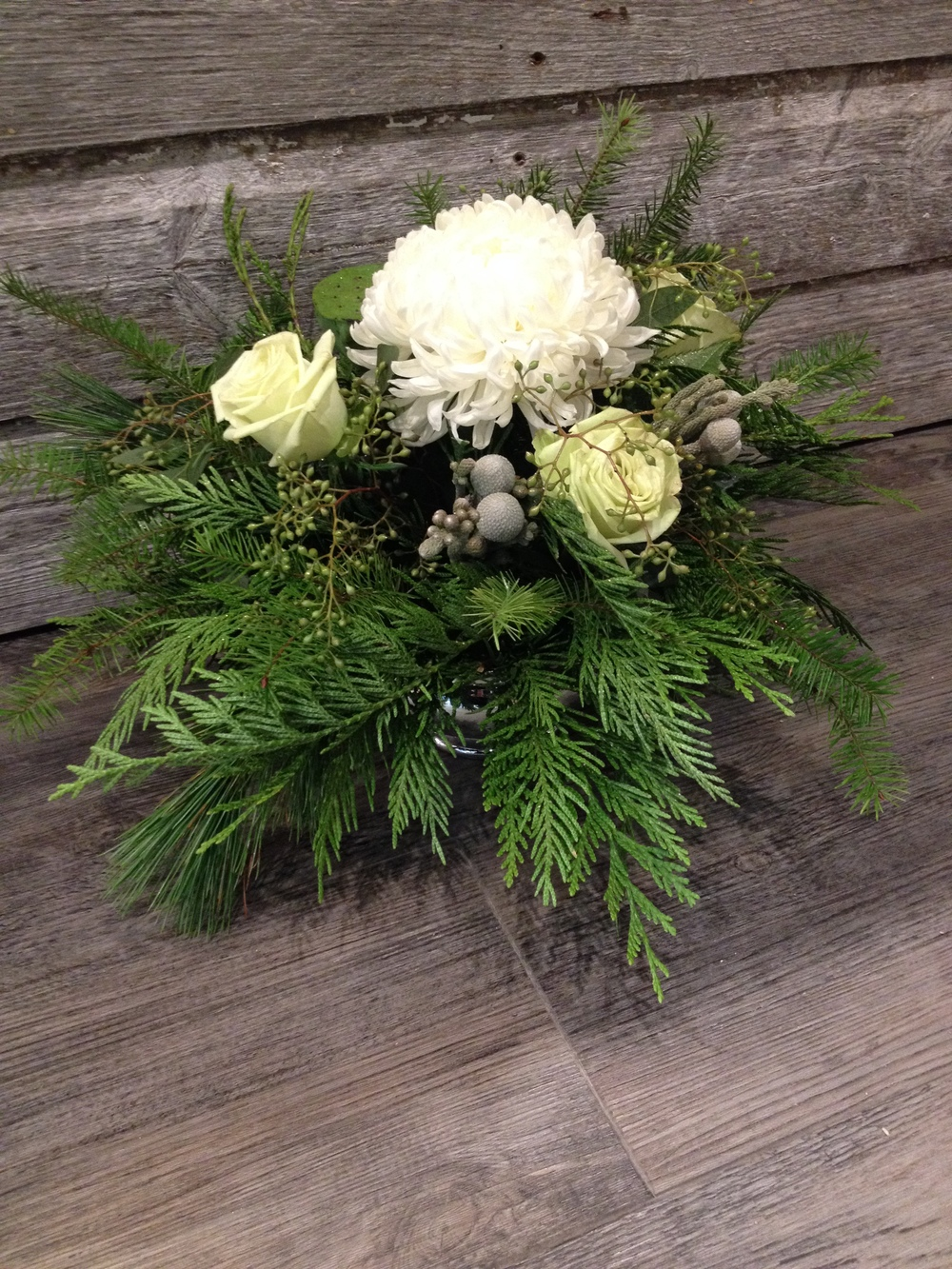 Christmas greens, whites and grey brunia