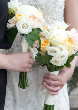 Soft white bridal bouquets - limited greens.  (Photo credit White Willow Media)