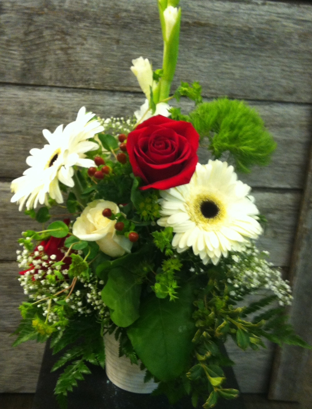 Sympathy arrangement in white and red