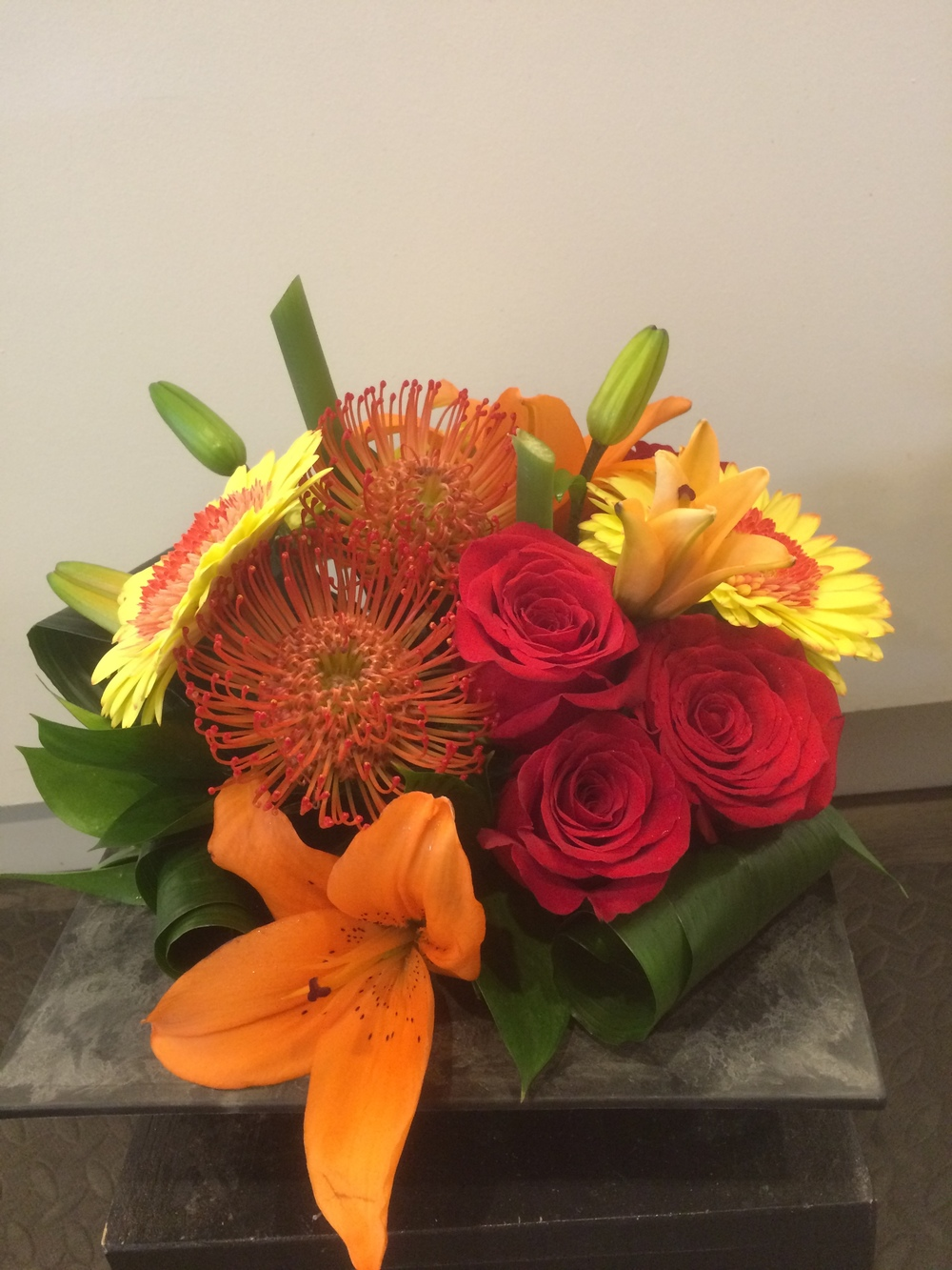Protea, roses, lilies and gerbs!