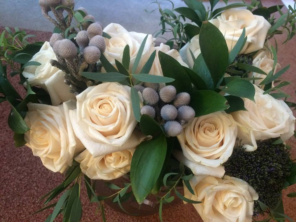 Soft white roses with grey and plum