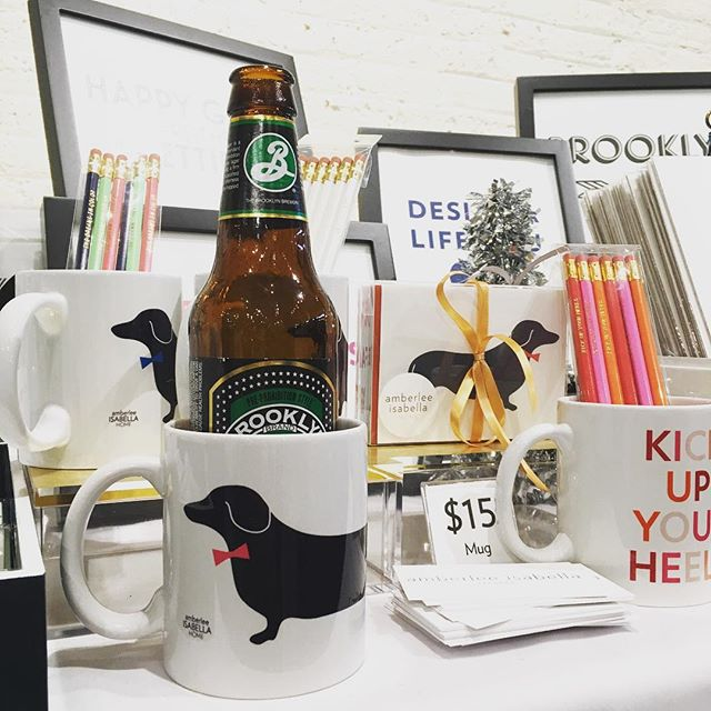"We're loving the @etsyny #handmadecavalcade Sip and Shop this evening with @brooklynbrewery ❤️ #dachshund ""koozie"" mug is all the rage! 😜"