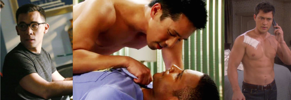 Gaysians, from left to right: Oliver Hampton (Conrad Ricamora), Brad Cooper (Parry Shen) and Paul Narita (Christopher Sean)