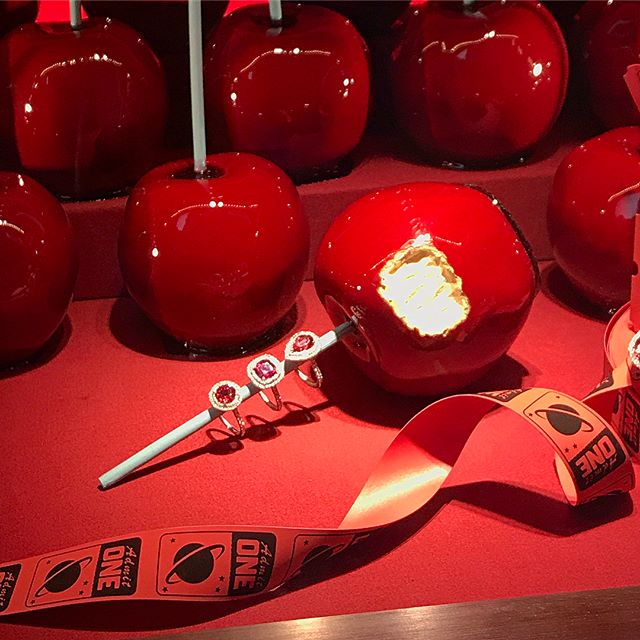 An Apple a Day from @tiffanyandco & 3 years ahead of the precious gem trend 😍🍎 SO excited to see my engagement ring in the NYC display @nelleweinstock best 📸share ever #redspinel #tiffanyandco