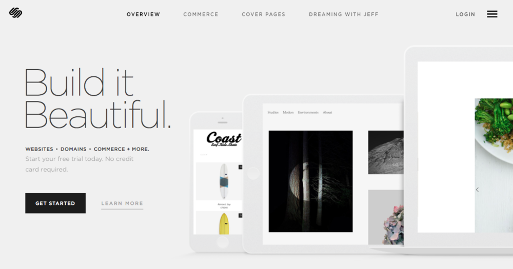 Screen capture of the SquareSpace homepage. As of today.