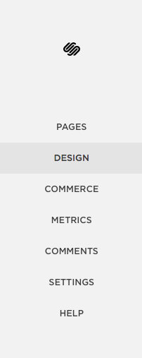 Squarespace main admin menu