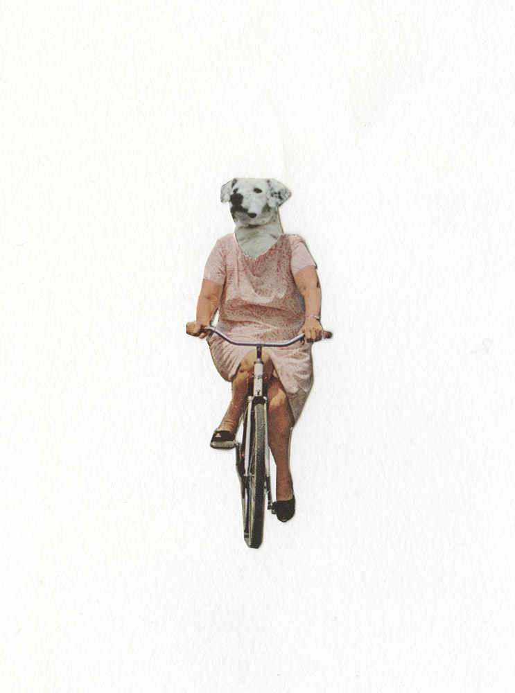 Every Bike Ride Is One Less Car Ride Handcut Collage on Paper 2015