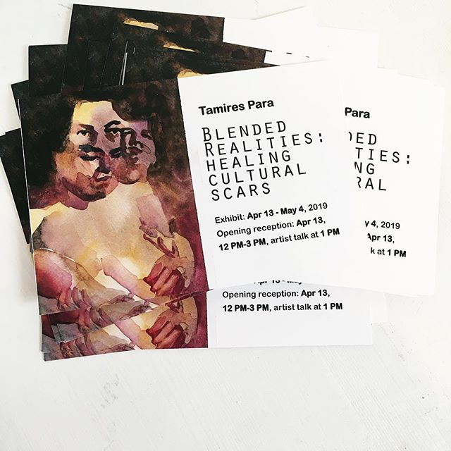 """Interested in checking out our latest show at the gallery? If you aren't already, you should be! 👍 Join us Saturday from 11-3 for our latest exhibit by Tamires Para entitled """"Blended Realities: Healing Cultural Scars"""". See you there! #yeg #yegarts #yeglocal #yegevents #bleedingheartartspace"""