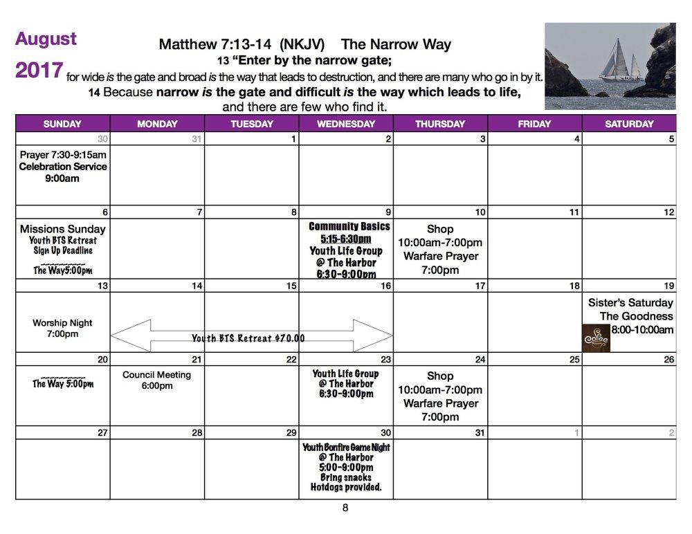 The Harbor Calendar 2017 August.jpg