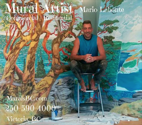 Mr. Labonte's 'Chemainus Bay' mural and tribute to Emily Carr was chosen to be one of 3 new murals to be unveiled in Chemainus BC this year.