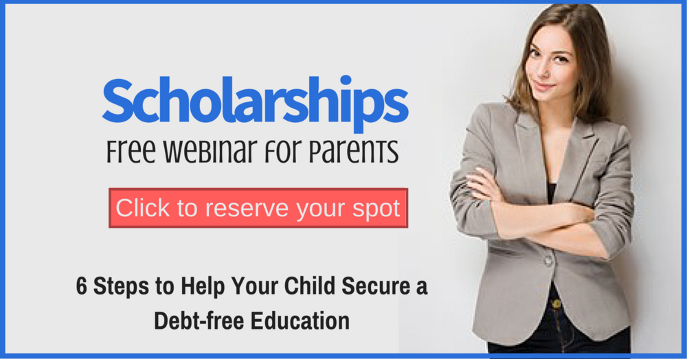 Want to help your child secure scholarships for college? Join us for our next free webinar training to learn the exact 6 steps to a debt-free education. http://www.thescholarshipsystem.com/freewebinarpst