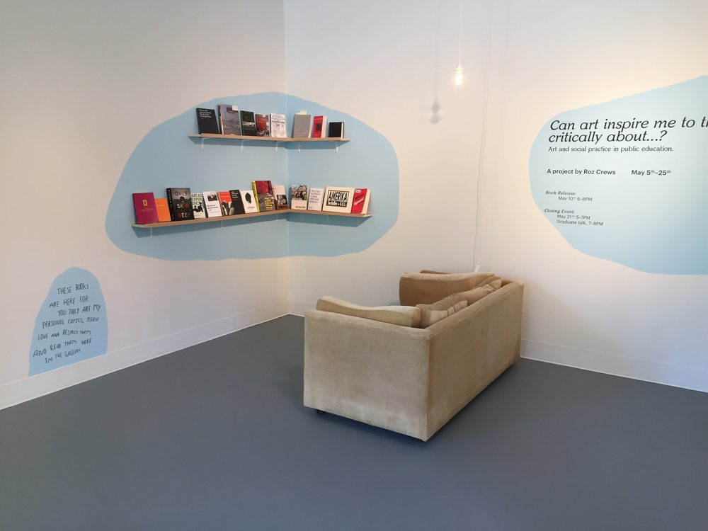 As part of the exhibition, I installed my current reading list as a library available for anyone to read while in the gallery.