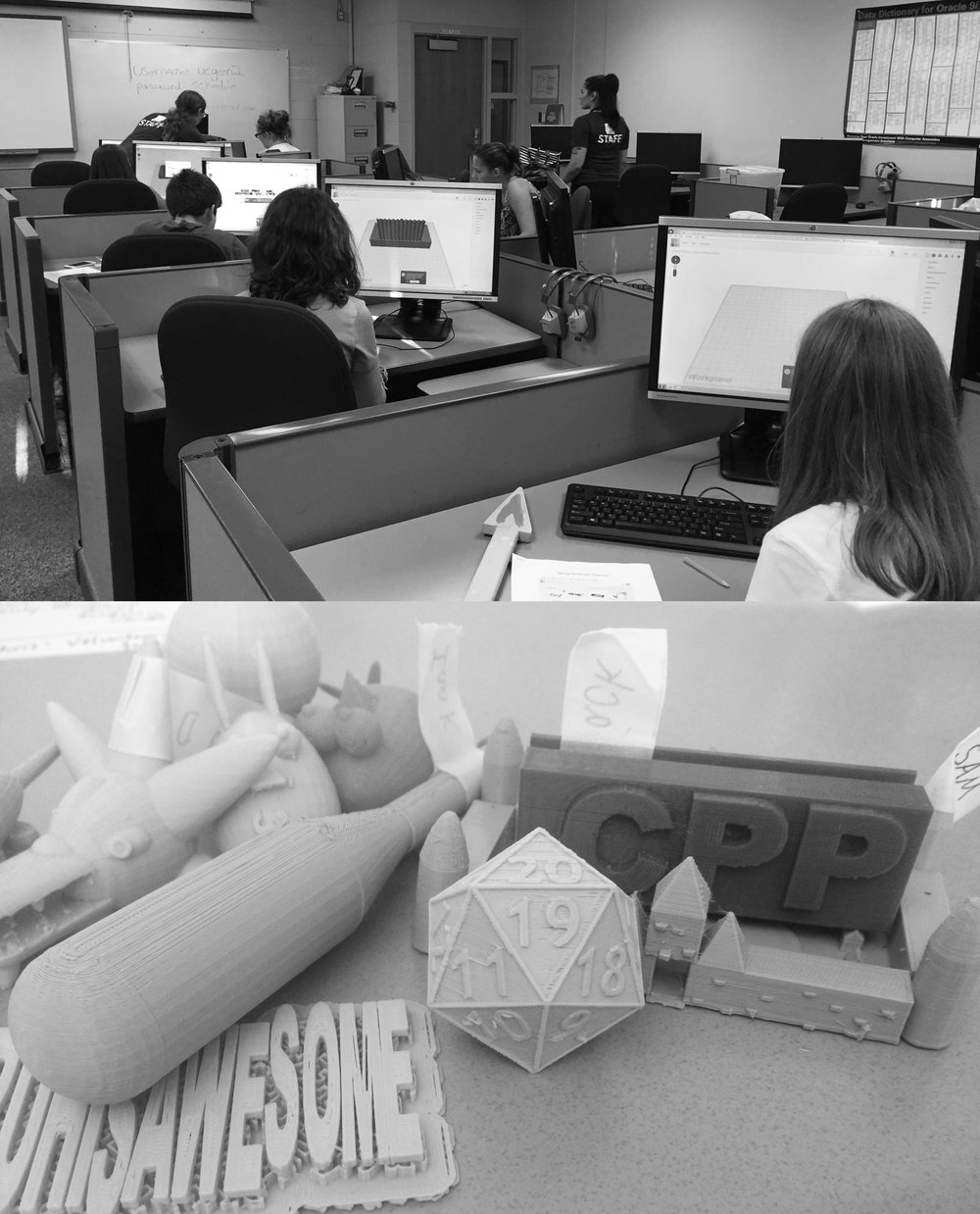 Creating and Leading a 3D printing workshop for middle school students through the Science Center of Iowa, bottom images displays student creations.