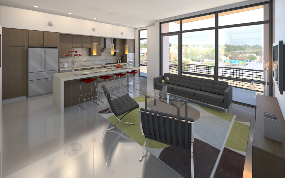 One Nineteen condos will feature high ceilings, large windows and polished concrete floors. Images courtesy of Sawtooth Development.