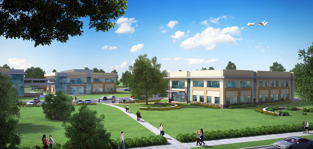 This rendering shows what the finished Austin campus of University of St. Augustine will look like when its third building is completed this spring.