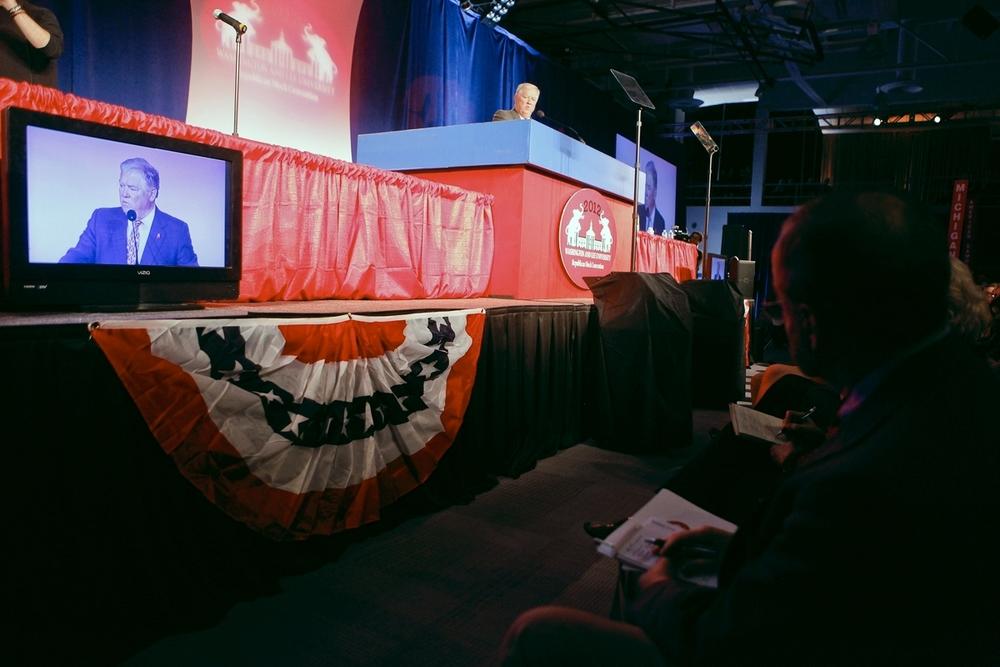 Former Mississippi Governor Haley Barbour speaking at Convention Weekend 2012.