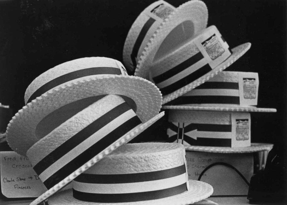 Hats from the 1972 Mock Convention cycle. (Courtesy of W&L Special Collections)
