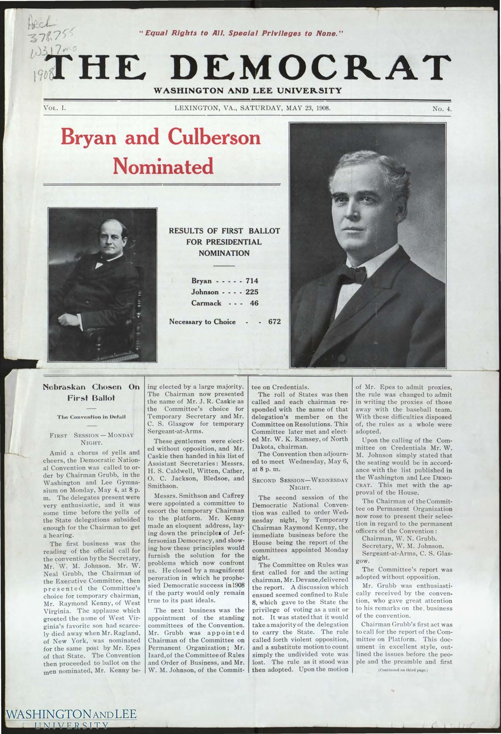 1908 -- BRYAN INSPIRES STUDENTS