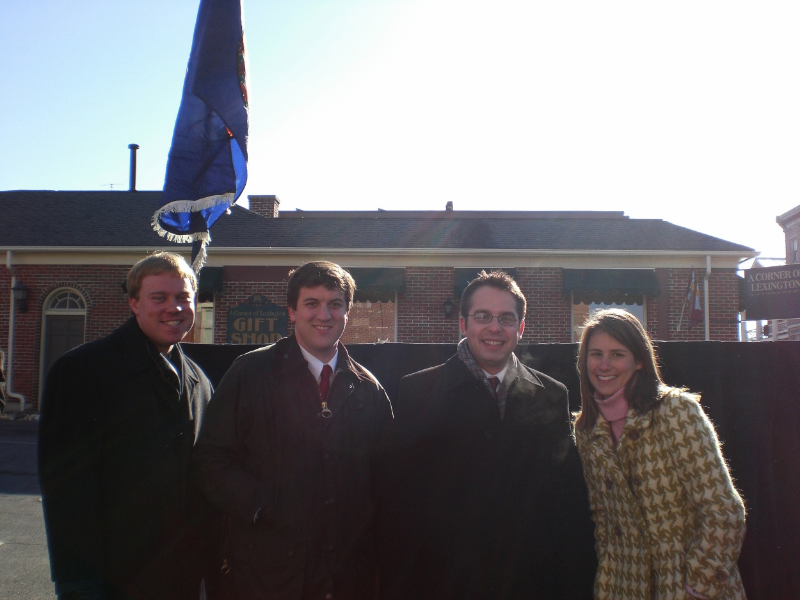 Waiting for the parade to begin. Left to right: Bill Larson '08, Advisory Board Liaison; Richard Friedman '08, General Chair; Carson Bruno '09, Executive Secretary; Sarah Johnson '08, Executive Treasurer.
